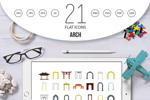 Arch icon set, flat style