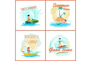 Sweet Summer Time Collection Vector Illustration