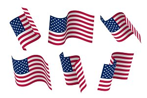 Set of 3d USA waving flag. Isolated on white, vector illustration.