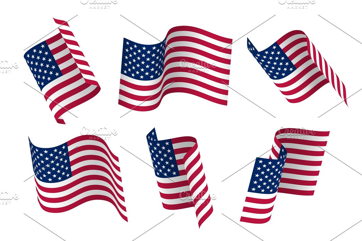 fd3eb9a030b2 Set of 3d USA waving flag. Isolated on white
