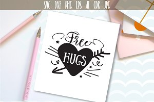 Free hugs SVG file, Handlettered svg