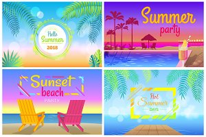 Sunset Beach Party Hello Summer Time Posters Set