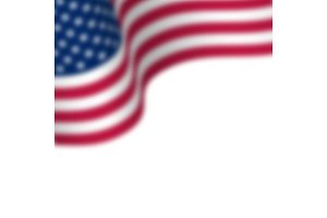 Waving flag of USA with blur effect. Place for text. Isolated on white, vector illustration.