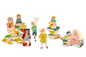 Kids reading, standing, sitting on piles of books