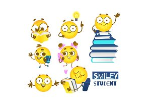 Smiley emoticon student set of cute emoji balls with backpacks and books loving to study.