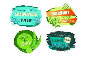 Summer Sale and Discount Set Vector Illustration