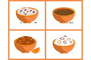 Rice and Buckweat Collection Vector Illustration