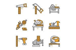 Carpentry color icons set