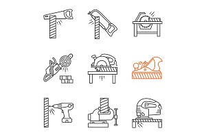 Carpentry linear icons set