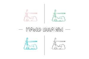 Pick axe breaking rocks hand drawn icons set