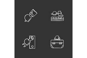 Hands holding construction tools chalk icons set