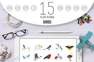 Birds icon set, flat style
