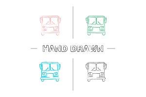 Bus hand drawn icons set