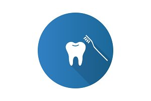 Correct teeth brushing flat design long shadow glyph icon