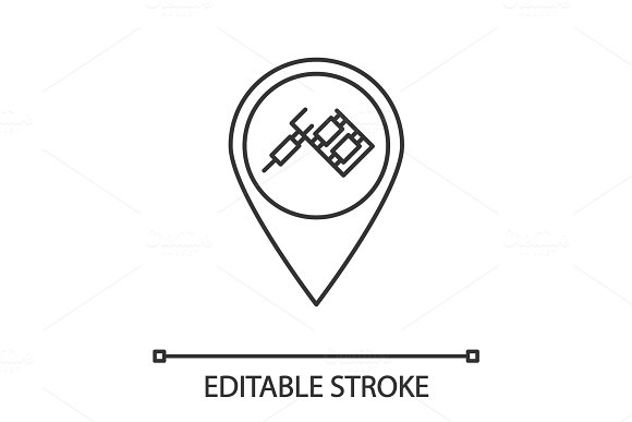 Tattoo studio location linear icon