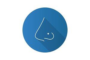 Pierced nose flat design long shadow glyph icon