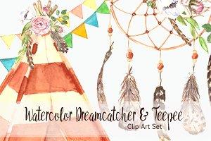 Watercolor Dreamcatcher & Teepee