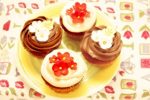 Chocolate cupcake with flowers