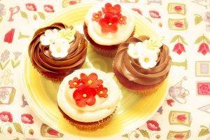 Four delicious cupcakes