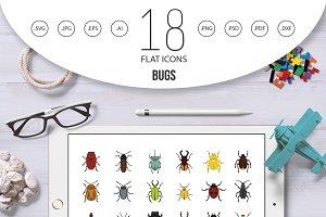 Bugs icon set, flat style