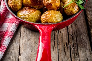 Baked whole baby potatoes