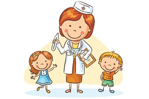 Doctor with happy little children