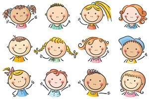 Set of 12 happy cartoon kids faces