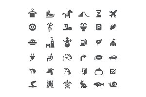 Set of icons. Road and animals. Carousel skates snowman burger and tower. Black and white isolated