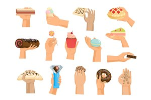 Hands with cake vector arm holding chocolate confectionery cupcake and sweet confection dessert of bakery illustration set of hand with sweets isolated on white background