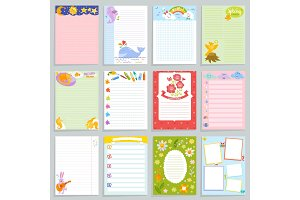 Kids diary vector childish notebook blank and childly page template of children book for notes or memo illustration set of childs organizer to write dreams background