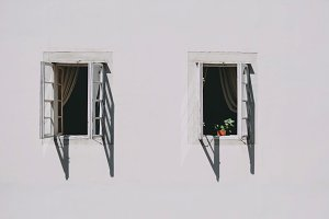Two open old wooden windows