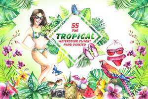 Tropical watercolor clipart