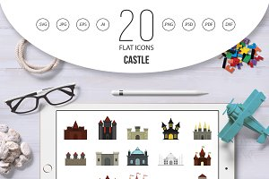 Castle icon set, flat style