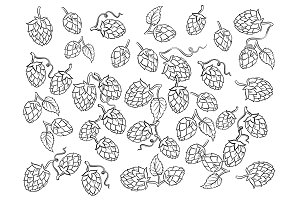 Hops background coloring cartoon vector