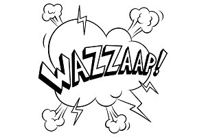 Wazzaap word coloring vector illustration
