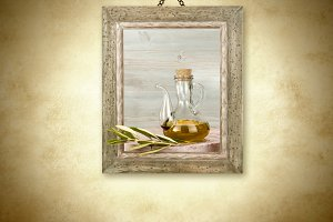 Olive oil in glass jar, picture