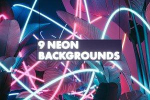 9 Neon Backgrounds (JPG)