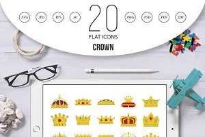 Crown icon set, flat style