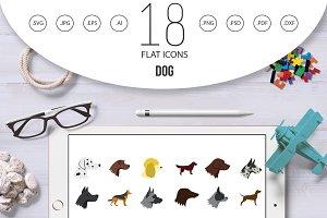 Dog icon set, flat style