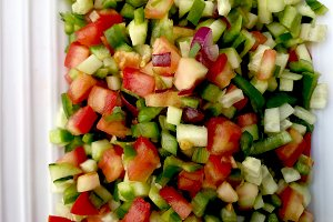 Vegetable salad cut into squares