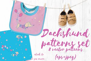 Dachshund vector patterns set