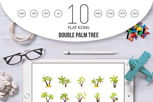 Double palm tree icon set, flat