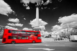 Bus riding through Trafalgar Square