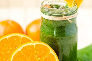 Glass of Healthy green Smoothie with