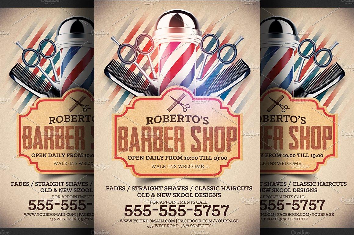 barber shop flyer template flyer templates creative market