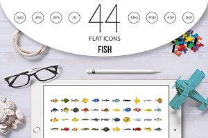 Fish icon set, flat style