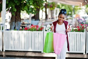 African american girl shopping