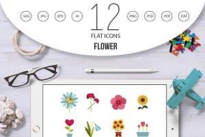 Flower icon set, flat style