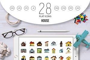 House icon set, flat style