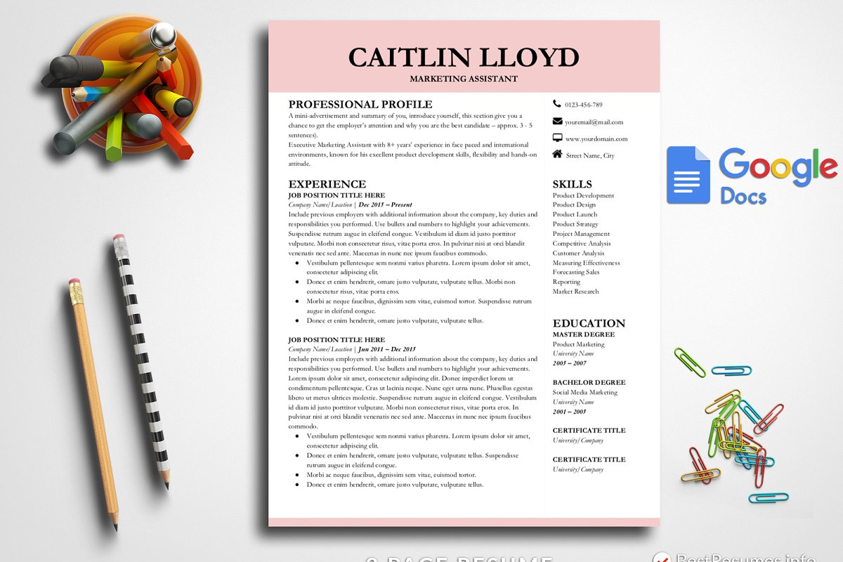 Modern Resume Template Google Docs Templates Creative Market